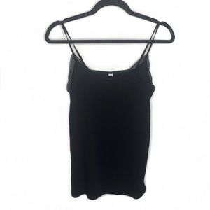 Uniqlo Black Lace Trimed Stretchy Tank Top